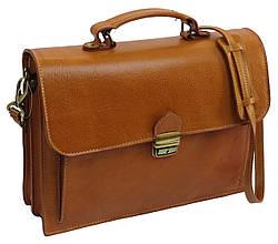 Яркий мужской кожаный портфель TOMSKOR, Польша 81569 рыжий