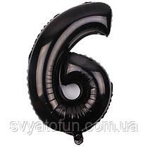 """Фольгированный шар-цифра """"6"""", черный, Китай, 100 см"""