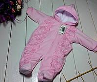 """Комбинезон с кружевом для новорожденной девочки """"Аля"""". Розовый, фото 1"""
