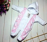 """Комбинезон с кружевом для новорожденной девочки """"Аля"""". Белый, фото 1"""