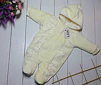 """Комбинезон с кружевом для новорожденной девочки """"Аля"""". Молочный, фото 1"""