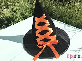 Ковпак маленької відьмочки капелюх чарівника на Хеллоуїн, дитячий ранок з помаранчевою стрічкою