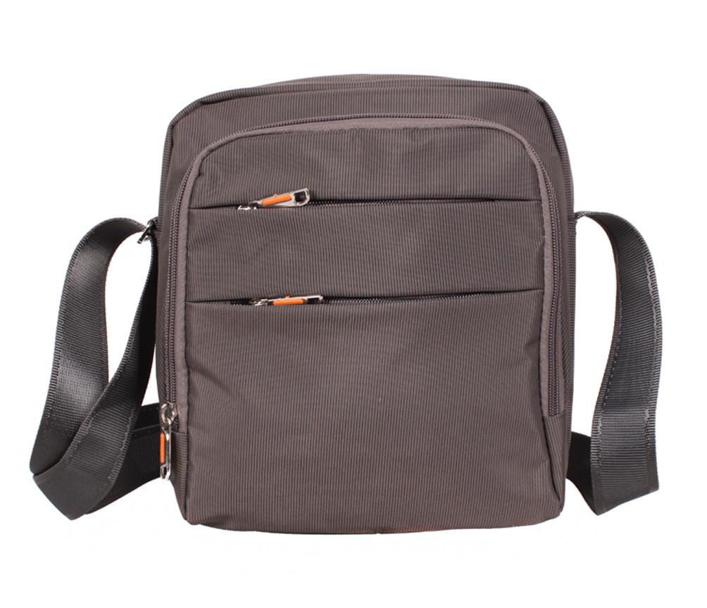 Мужская тканевая сумка через плечо NL6339-32 серо-коричневая