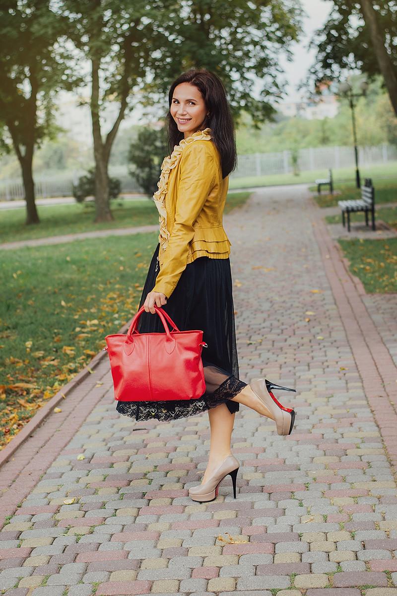 Женская кожаная сумочка 23 красный флотар 01230107