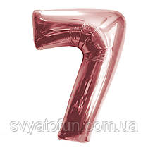 Фольгированный шар-цифра 7 розовое золото 80см Китай