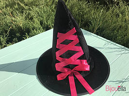 Ковпак, капелюх дитяча для образу відьми, чарівника на Хеллоуїн, вечірку з червоною стрічкою