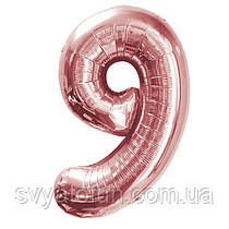 Фольгированный шар-цифра 9 розовое золото 80см Китай