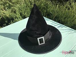 На вечірку капелюх чорна дитяча чарівника або відьмочки з пряжкою на Хеллоуїн, карнавал, маскарад