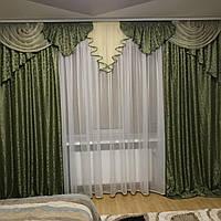 Ламбрекен со шторами для зала, гостиной, спальни Алисия (зеленый с золотом)