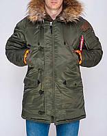 Мужская парка зимняя Olymp Аляска N-3B, топовая теплая качественная, 100% нейлон (оливковая), ОРИГИНАЛ