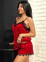 Красная велюровая пижама майка и шорты, фото 1