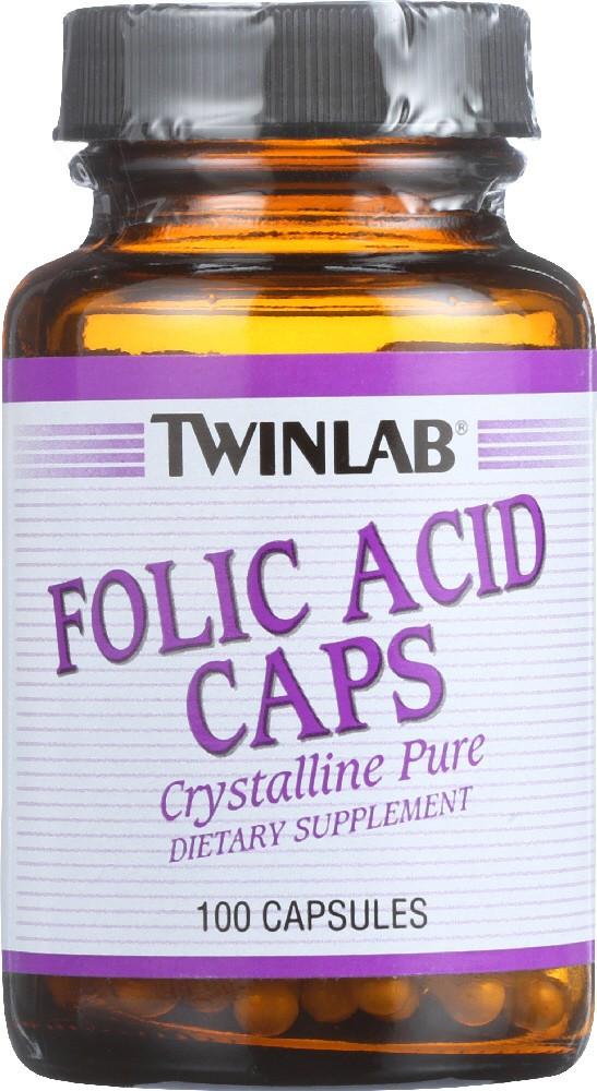 Twinlab Folic Acid Caps 100 caps, Твинлаб Фолиевая Кислота 100 капсул