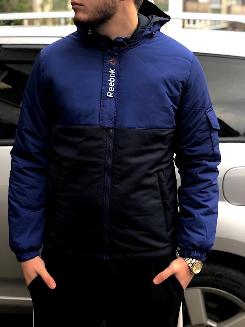 Мужская осеняя куртка Reebok синего и черного цвета (люкс копия) - Bigl.ua aa06cf710e9