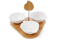 Сервировочный набор пиал (3 шт) на бамбуковой подставке, 24 см BonaDi 289-298