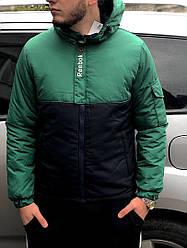 Мужская осеняя куртка Reebok зеленого и черного цвета (люкс копия)