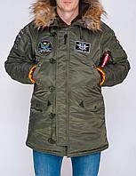 Мужская парка Olymp Аляска N-3B зимняя топовая качественная, 100% нейлон с нашивками (оливковая), ОРИГИНАЛ