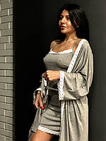 Халат серый с пеньюаром комплект женский, фото 1