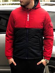 Мужская осеняя куртка Reebok красного и черного цвета (люкс копия)