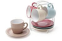 Набор чайный: 4 чашки 250мл + 4 блюдца на металлической подставке BonaDi 344-082