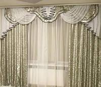 Ламбрекен со шторами для зала, гостиной, спальни Dana (сталь)