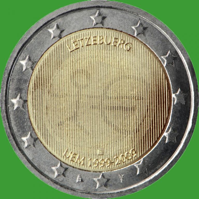 Люксембург 2 евро 2009 г. 10 лет Экономическому и валютному союзу . UNC