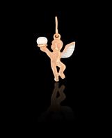 Золотой Кулон Амур/жемчуг