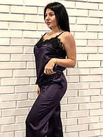 Шикарный женский атласный комплект для дома пижама майка и штаны, фото 1