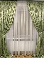 Готовые шторы Elif салатовый цвет, жакард