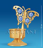 Хрустальный подсвечник с кристаллами Сваровски Бабочка 12 см AR-3016