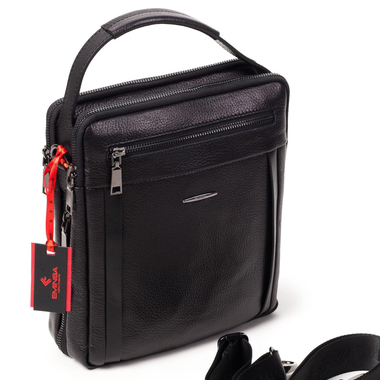 Мужская сумка кожаная черная Eminsa 6135-37-1