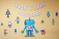 "Кенди бар на детский праздник. Тематика ""Роботы"". Кенди бар оранжевого и красного цвета"