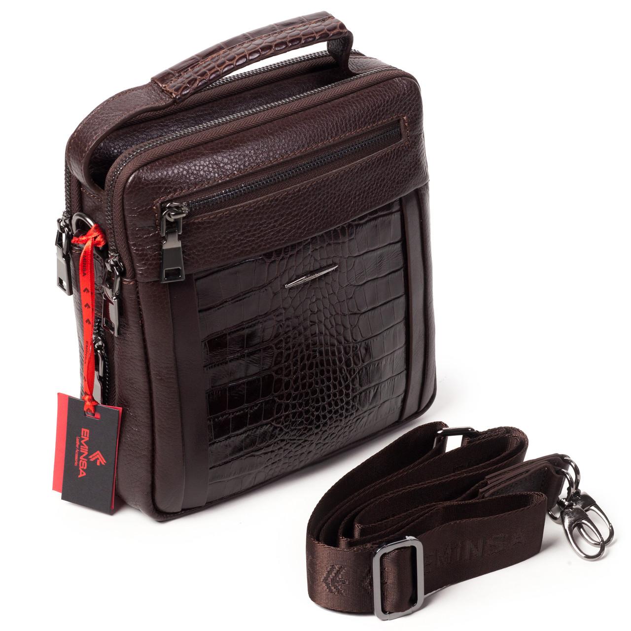 Чоловіча сумка Eminsa 6136-4-3 коричнева шкіряна