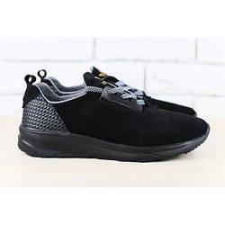 Мужские кроссовки, черные, из натуральной замши, с кожаными вставками, на шнурках 41
