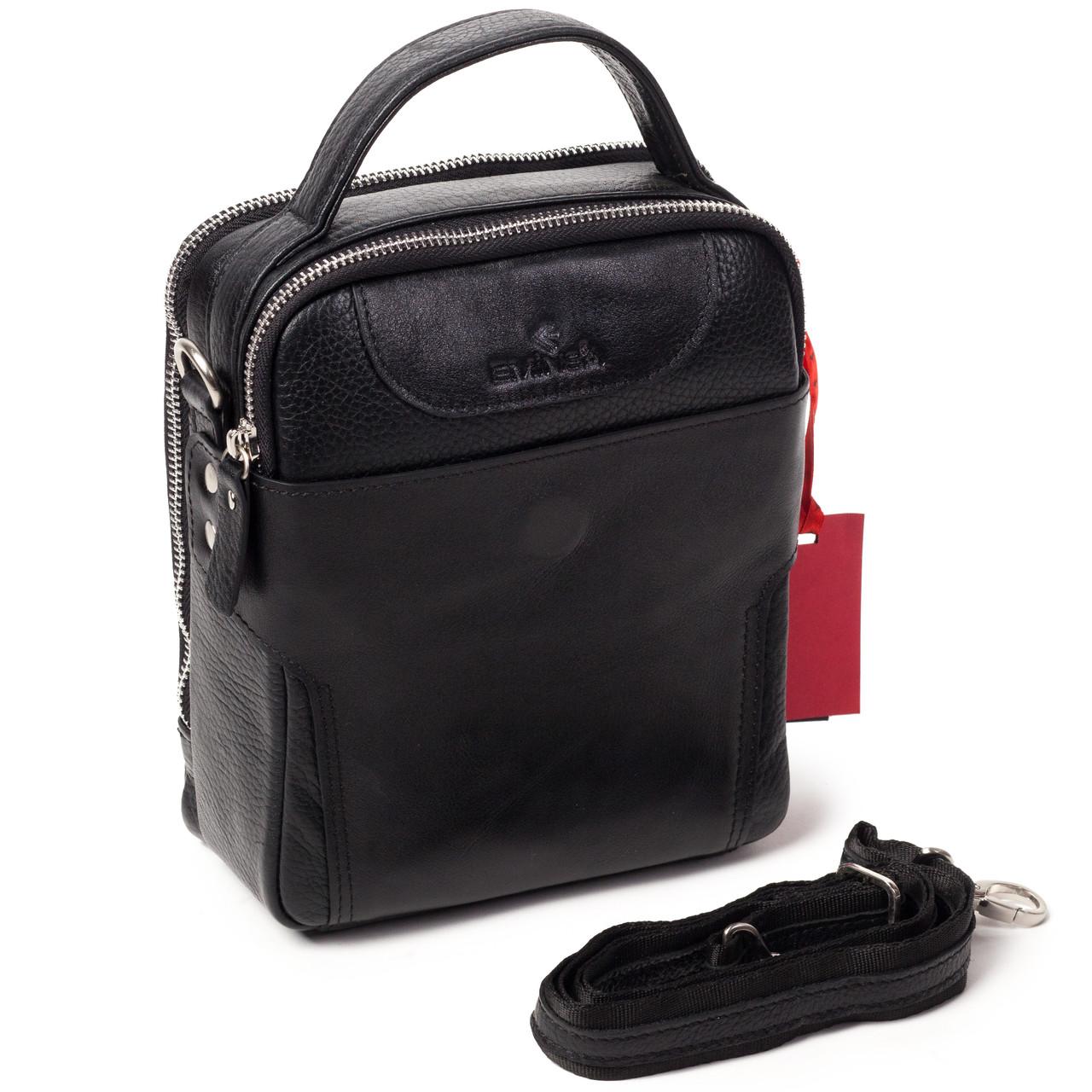 Мужская сумка барсетка Eminsa 6002-37-1 кожаная черная