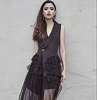 Платье пиджак женское черное с фатиновой юбкой бренд стильное модное вечернее яркое