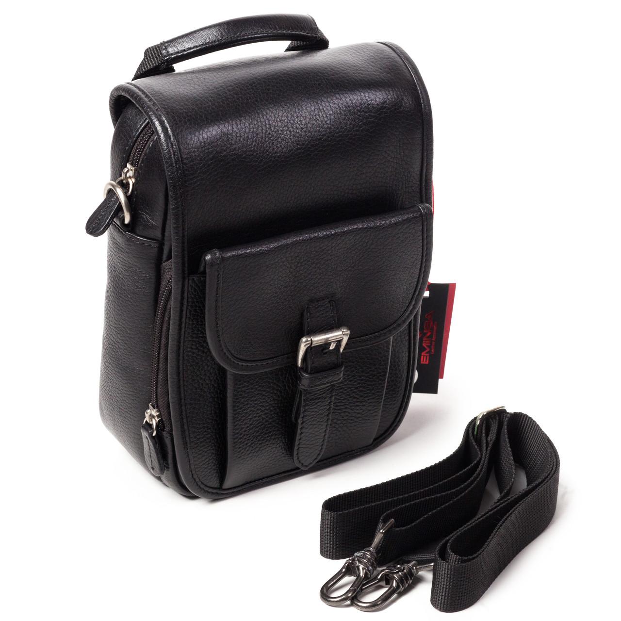 e7db89f4876b Мужская сумка Eminsa 6059-12-1 кожаная черная - FainaModa магазин кожаных  изделий в