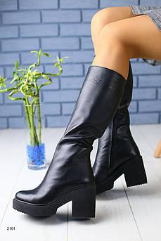 Зимние кожаные сапоги черные на удобном каблуке евромех