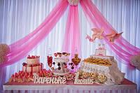 Кенди бар на детский праздник в розовом цвете