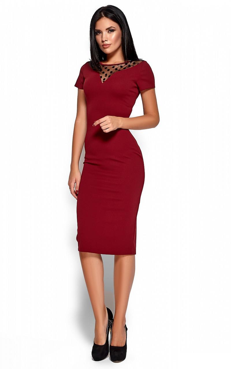 S, M, L, XL / Облегающее изящное классическое платье Valia, марсала