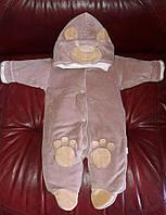 """Комбинезон для новорожденных """"Панда"""" на выписку из роддома. Коричневый, фото 1"""