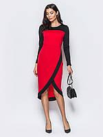 ec2f8c0fa9e Женское двухцветное трикотажное платье с контрастными вставками р.46