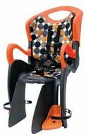 Сиденье задн. BELLELLI Tiger Clamp  детское (черно-оранж с оранж подкладкой) крепится на багажник