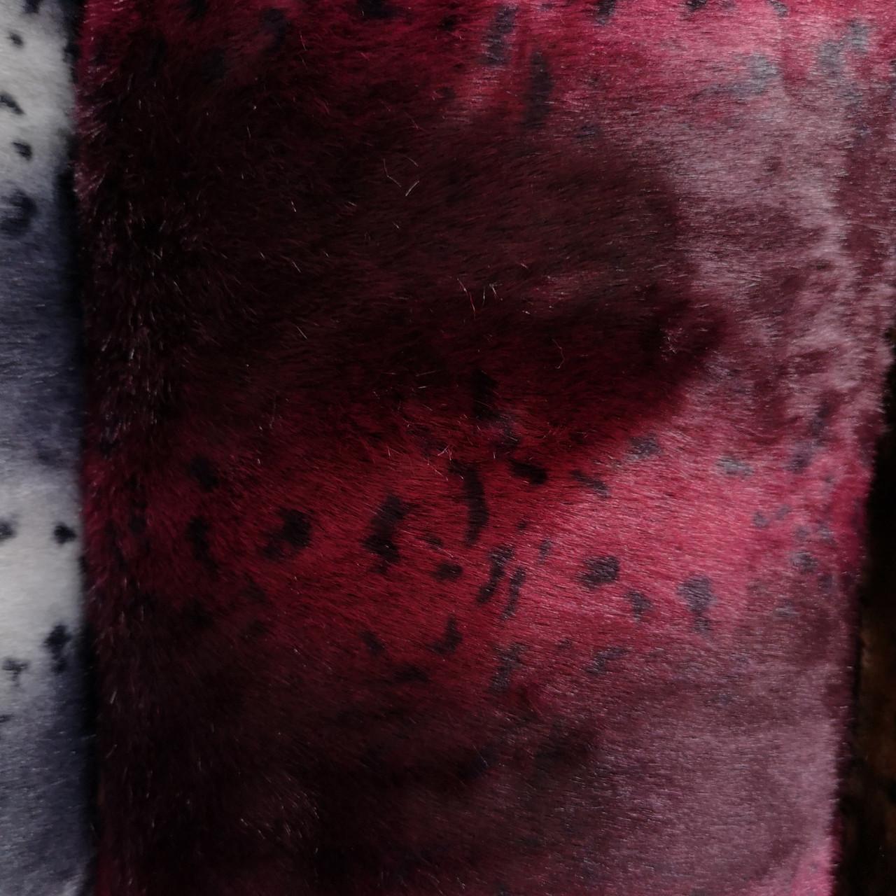 Мех искусственный норка леопард бордовая