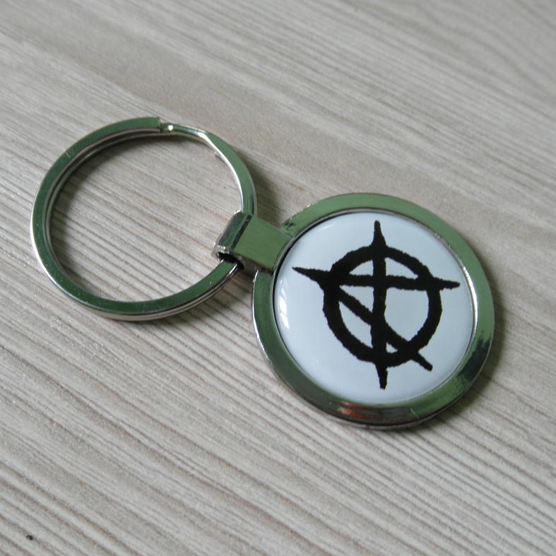 """Брелок для ключів металевий круглий """"Анархія"""""""