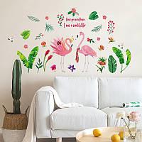 """Интерьерная виниловая наклейка на стену """"Фламинго"""", фото 1"""