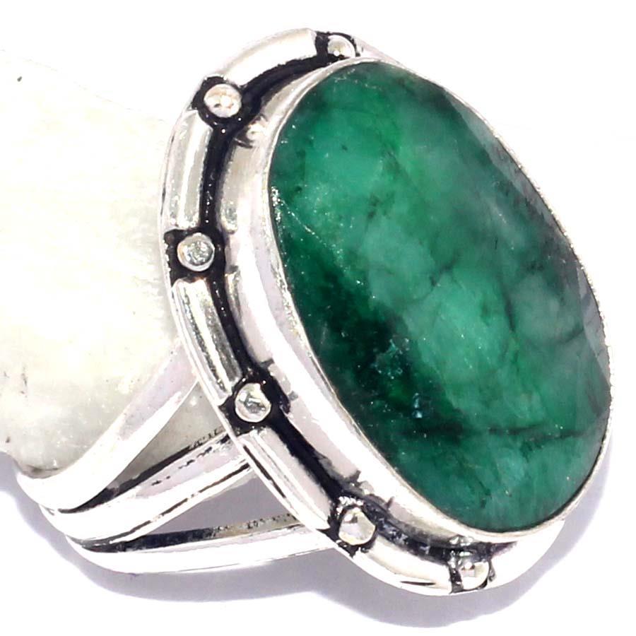 Изумруд кольцо с натуральным изумрудом в серебре 18.5 размер Индия