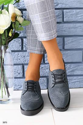 Женские серые туфли  на шнурках 36