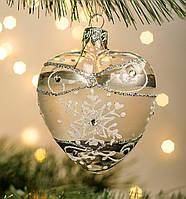 Стеклянное украшение Сердце Снежинка