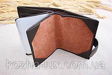 Портмоне мужское кожаное тёмно-коричневое с отделом для паспорта, натуральная кожа, фото 2