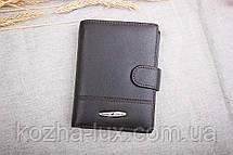 Портмоне мужское кожаное тёмно-коричневое с отделом для паспорта, натуральная кожа, фото 3